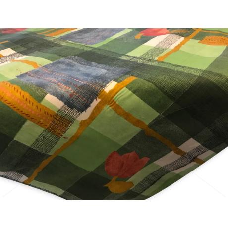 Asztalterítő napron nyomott mintával 70x70cm zöld kockás tulipános