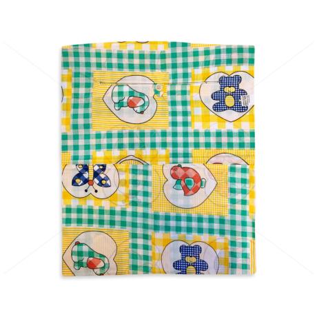 Óvodai ruhazsák 37x46cm patchwork kockás állatos zöld-sárga