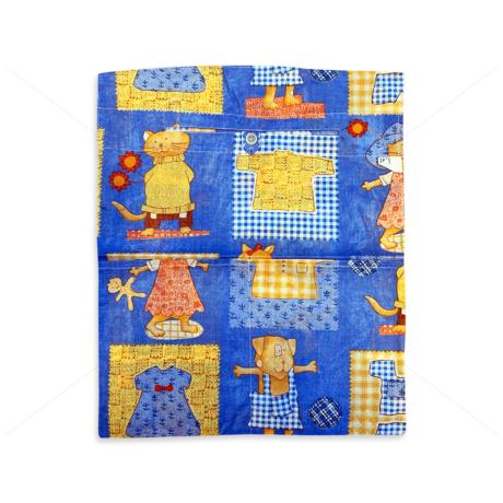 Óvodai ruhazsák 37x46cm patchwork kutyás macskás kék