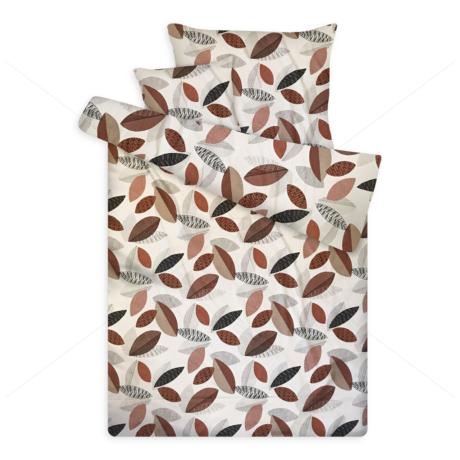 pamut szatén ágynemű leveles sateen 3 beige