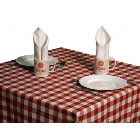Tarkán szőtt szennytaszító asztalterítő piros-fehér kockás 140x140 cm