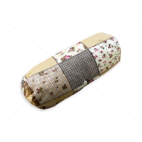 Hengerpárna huzat patchwork virágos barna